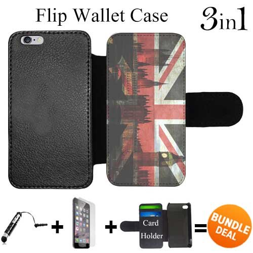 Flip Wallet Case for iPhone 6 Plus/6S Plus (Hipster London England ) with 3 Card Holders | Shock Protection | Lightweight | Includes HD Tempered Glass and Stylus Pen by Innosub