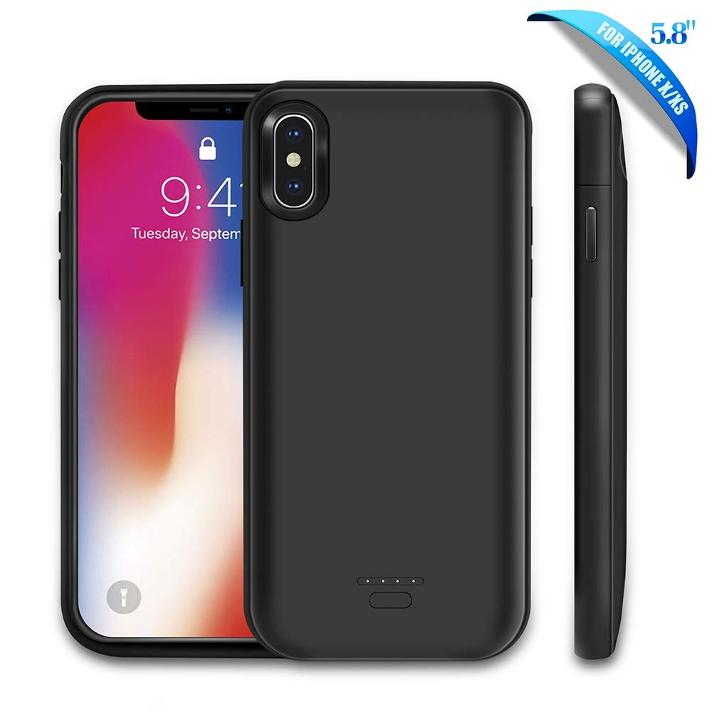 Rechargeable Extended Battery Charger Case Power Bank Charging Case Cover-Black 5500mAh Conqto Portable Protective Power Charging Case Compatible with iPhone Xr 6.1 inch Battery Case for iPhone Xr