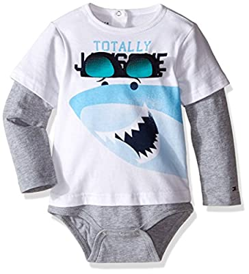 Tommy Hilfiger Baby Boys' Shark Double Long Sleeve Onesie