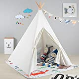 Kids Tent Indoor - Painting Teepee Tent for Kids with 4 Wooden Poles Ideal for Children Bedrooms, Playrooms, Living rooms - Portable Canvas Play Tent by OUTREE (White)