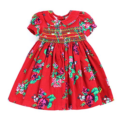 sissymini Margot Modern Flora Corduroy Hand Smocked & Embroidered Dress for Infant & Toddler - Cardinal Red - Pumpkin Cardinals
