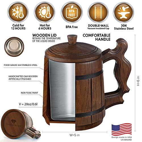 Wooden Beer Mug DND Stein -Premium Groomsmen Gifts Pirate Viking Cup Men Fantasy Medieval Tavern Wood Tankard Oak Lid 20 oz Stainless Steel Mugs Lord Rings Dungeons Dragons World Warcraft Game Thrones