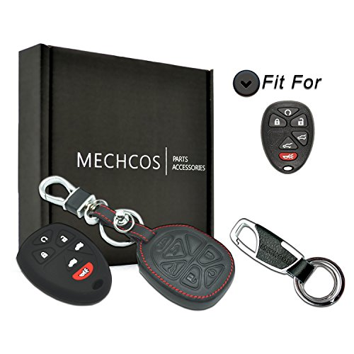 - MECHCOS Compatible with fit for 6 Button GMC Chevy Cadillac OUC60270 OUC60221 15913427 Leather Smart Keyless Entry Remote Control Key Fob Cover Pouch Bag Jacket Case Protector Shell