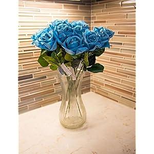HungEnterprises DL82001 Artificial Rose, 12 Pack (Sky Blue) 40