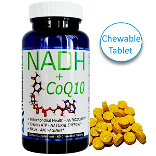 MAAC10 NADH + CoQ10 Supplement For Fatigue, Energy, Mental Focus & NAD+ Support , 50mg PANMOL® NADH + 100mg CoQ10 (60 Tasty Chewable Tablets 2 per Serving).
