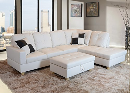Beverly Furniture Beverly White 3Piece Faux Leather Left-Facing SECTIONAL Sofa Set with Storage Ottoman, Left-facing sofa