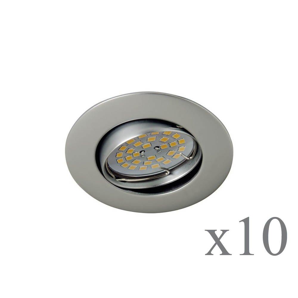 Wonderlamp Basic W-E000113 Pack de Focos Empotrables Redondos, GU10, Gris, 8.5 x 1.5 cm, 10 Unidades: Amazon.es: Iluminación