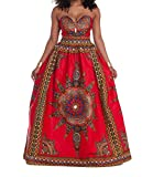 Abetteric Women Africa Big Pendulum Floral Wrapped Chest Open Back Long Dress As Picture M