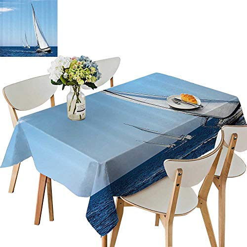 Aegean Weave Fish - UHOO2018 Fitted Polyester Tablecloth  Luxury Yachts Sailing in The Wind Through The Waves The Aegean Sea Square/Rectangle Washable for Tablecloth,52 x 108inch
