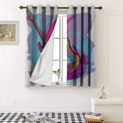 shenglv Music Window Curtain Fabric Illustration of Electric Guitar Artistic Modern Musical Festive Curtains and Drapes for Living Room W55 x L63 Inch Lavander Purple Aqua -