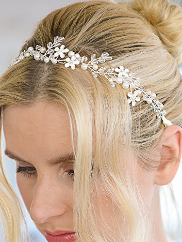 Crystal Bridal Headband with Silver Flowers