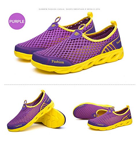 Mens Womens Breathable Sneakers for Summer Ladies Trainers Mesh Slip On Water Shoes Purple-Yellow UWbFtgSy