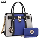 MMK collection Fashion Handbag with coin purse(XL-11) Classic Women Purse Handbag for Women` Signature fashion Designer Purse ~ Perfect Women Satchel Purse (XL-02-7103W-BL/GY)