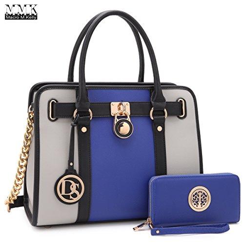 MMK collection Fashion Handbag with coin purse(XL-11) Classic Women Purse Handbag for Women` Signature fashion Designer Purse ~ Perfect Women Satchel Purse (XL-02-7103W-BL/GY)