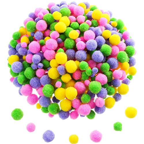 Sumind 300 Pieces Assorted Pom Poms Fluffy Pom Balls Small Craft Pompoms for DIY and Decorations, 3 Sizes (Easter Color Set)