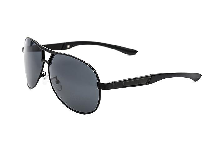 Gafas de Sol Polarizadas para Hombre, Estilo Aviador. Protección UV 400. Incluye Estuche, Bolsa, Paño de Limpieza y Tarjeta para Probar la ...