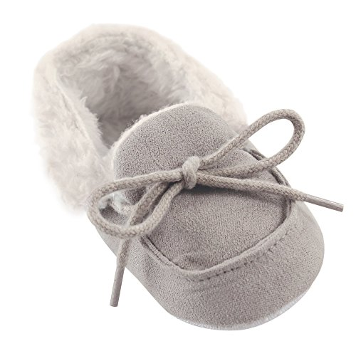 Luvable Friends Baby Cozy Slipper Moccasin, Gray, 0-6 Months Standard US Width US Infant