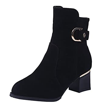 Mujer Botas Casual zapatos tacón alto,Sonnena ❤ Botines largos de mujer hasta el tobillo Longitud media Tubo de gamuza Casual Boots Zapatos con ...