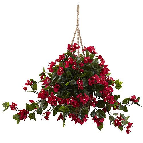 Nearly Natural 6845-RD Bougainvillea Hanging Basket UV Resistant, Red