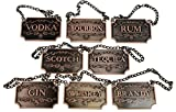 Liquor Decanter Tags / Labels Set of Eight (Copper or Silver Available) - Whiskey, Bourbon, Scotch, Gin, Rum, Vodka, Tequila and Brandy - Copper Colored - Adjustable Chain for the Perfect Fit (Copper)