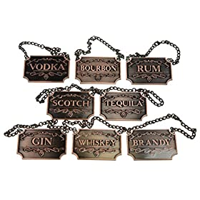 Copper Liquor Decanter Tags/Labels Set of Eight – Whiskey, Bourbon, S...