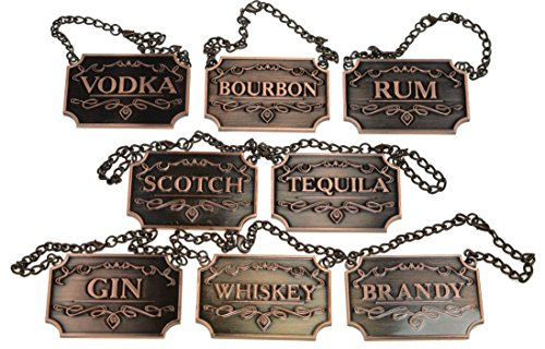 (Copper Liquor Decanter Tags / Labels Set of Eight - Whiskey, Bourbon, Scotch, Gin, Rum, Vodka, Tequila and Brandy - Copper Colored - Adjustable Chain Fits Most Bottles)