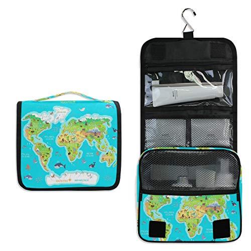 SLHFPX Hanging Toiletry Bag World Map Animals Ocean Flora Waterproof Wash Bag Makeup Organizer for Bathroom Men Women