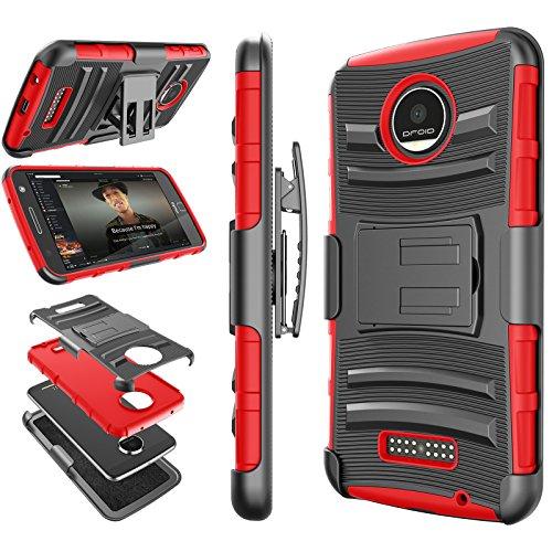 Tekcoo for Moto Z Play Case, for Moto Z Force Holster Belt, [Hoplite] Shock Absorbing [Red] Locking Clip Defender Full Body Kickstand Carrying Armor Cases Cover for Motorola Moto Z Force/Play Droid