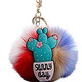 Slendima 3.15'' Lovely Silicone Cactus Fluffy Ball Keyring Car Key Chain Handbag Decor Gift 7#
