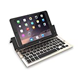 Foldable Bluetooth Keyboard, Tecomax F18 Rechargeable Portable Wireless Keyboard with Kickstand Holder for iPad, iPhone,Samsung, Android, Tablet - Gold