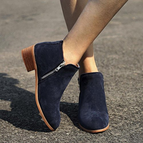 Shoes Martin Leather Knight Round Toe Zip Women's Massage Boot Ankle Solid Blue Breathable Boots Booties Fashion Short Momola Ladies xqapwvfBB