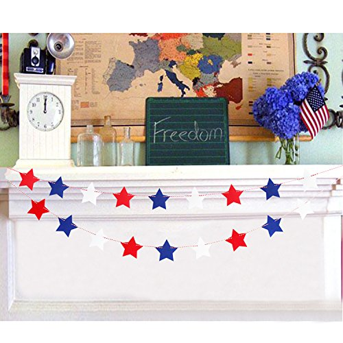 Red White Blue Star Felt Banner Garland - Patriotic 4th of July Decorations - Independence Day Decorations - No DIY Required - 2 (Red White And Blue Garland)
