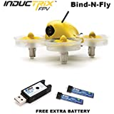 Blade BLH8580 Inductrix FPV BNF Micro Indoor Quadcopter Drone w/Camera + (1) Extra OEM Battery Bundle