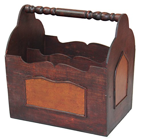 Decorative wooden magazine rack with carrying handle.