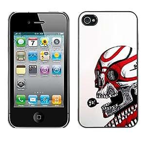 Eason Shop / Premium SLIM PC / Aliminium Casa Carcasa Funda Case Bandera Cover - Yo cuadrilla Negro Cráneo Rojo Blanco Biker; - For Apple Iphone 4 / 4S