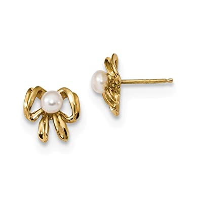 d1346d509 Image Unavailable. Image not available for. Color: 14k Yellow Gold 4mm  White Button Freshwater Cultured Pearl Post Stud Earrings ...
