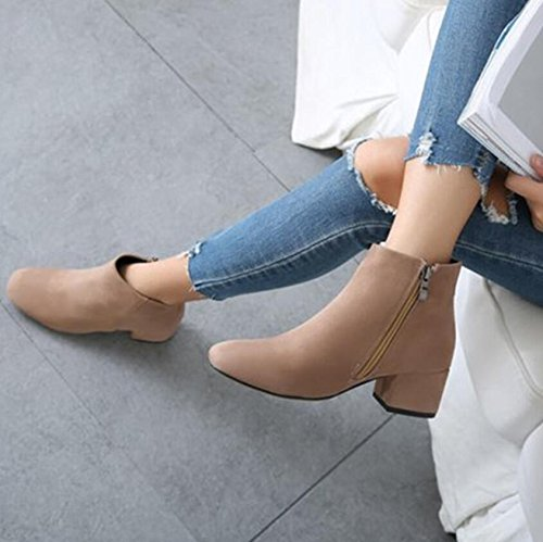 KHSKX-Beige 5Cm Thick Boots With Small Square In The Spring And Fall Season With The Boots The Korean Version Of The Wild Martin Boots Female 39 epXrlQ3Fqt