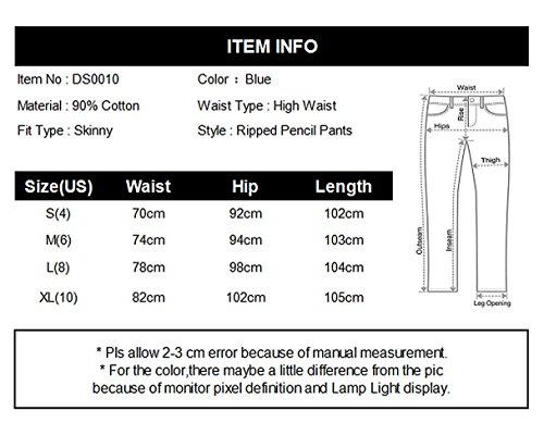 QingOrange Women High Waist Skinny Ripped Jeans Distressed Stretch Pencil Pants Boyfriend Trouser by QingOrange (Image #5)