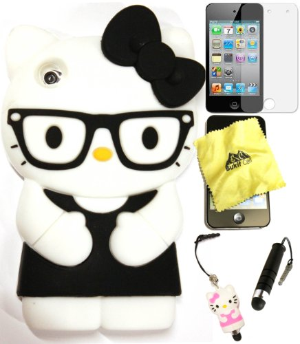 Bukit Cell Black Hello Kitty Nerd with Red glasses Ipod Touch 4; - 5 items: Silicone Case + BUKIT CELL Trademark Cloth,Hello Kitty Figure Stylus Pen + Screen Protector + METALLIC Stylus Touch Pen