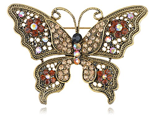 Alilang Magnificent Detailed Smoked Topaz Crystal Rhinestone Empress Butterfly Pin Brooch
