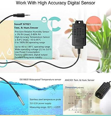 2 Pcs Sonoff DS18B20 Waterproof Temperature Sensor for Sonoff TH10 /& TH16
