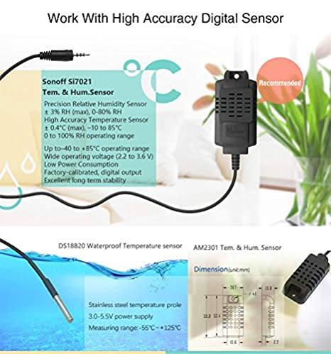 Sonoff Si7021 Wi-Fi Wireless Temperature and Humidity Sensor High Accuracy  that works with temp and humidity sensor Smart Switch(Sonoff TH10/TH16)