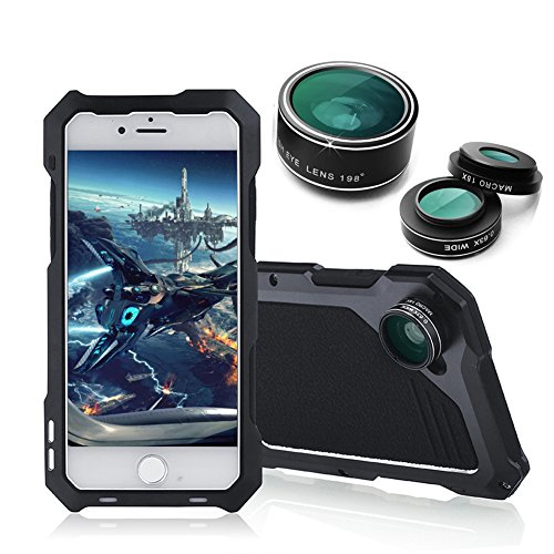 iPhone 6 Plus Case, Amever iPhone 6s Plus Camera Lens Case 3 in 1 Fisheye + Macro + Wide Angle Camera Lens - Dustproof Shockproof Aluminum Case with Tempered Glass Screen Protector - Black (Inch Glass 118)
