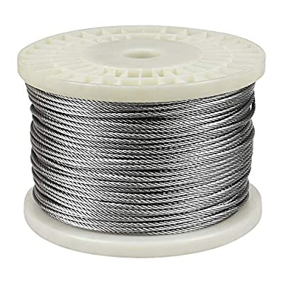 """IZOKIN 1/8"""" 316 Stainless Steel Wire Rope Aircraft Cable for Deck Cable Railing Kit DIY Balustrade Handrail Cable,7x7"""