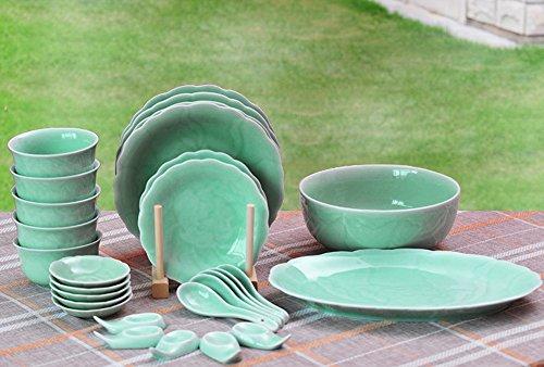 Ceramic Story Livingware Celadon Porcelain Peony Pattern 28-Piece - Peony Porcelain