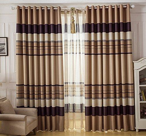 "Plain Horizontal Stripes Full Blackout Window Screen Curtains/ Living Room Sunshade Cloth Curtains Hight 106"" (Beige, W 59"")"