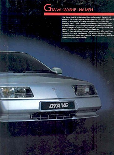 Amazon.com: 1987 Renault GTA V6 Turbo Prestige Brochure: Entertainment Collectibles