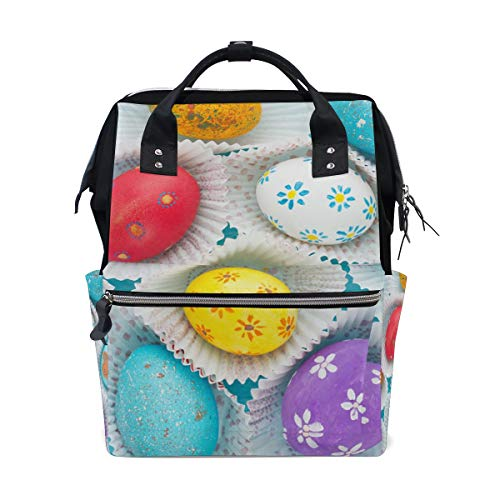 Happy Easter Eggs Cupcake School Backpack Large Capacity Mummy Bags Laptop Handbag Casual Travel Rucksack Satchel For Women Men Adult Teen Children -