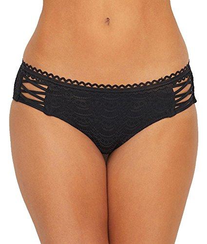 Becca by Rebecca Virtue Women's Tab Side Hipster Bikini Bottom Black - Bottom Bikini Crochet