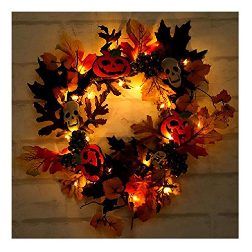 Wreath Home Decor Halloween Front Door Simulation Maple Leaf Pumpkin 2m 20Lamp Green OneSize